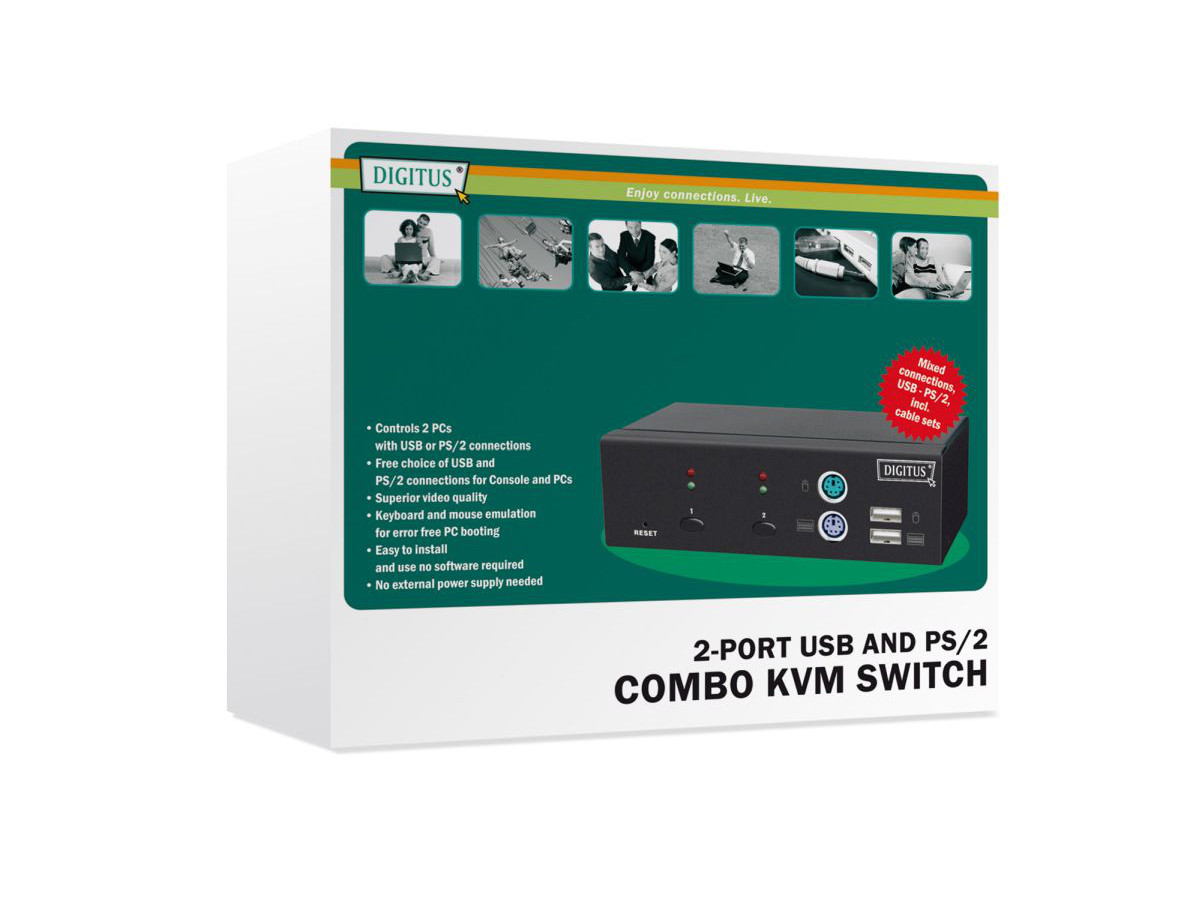 KVM Combo PS/2/USB2.0 2-porty